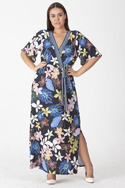 Kadın Lacivert Anvelop Yaka Beli Yandan Bağlamalı Uzun Elbise 65N19040