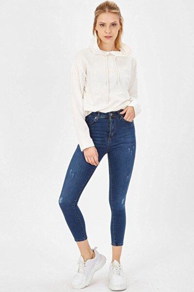 Kadın Taşlanmış Mavi Taşlanmış Lazerli Yüksek Bel Likralı Pantolon