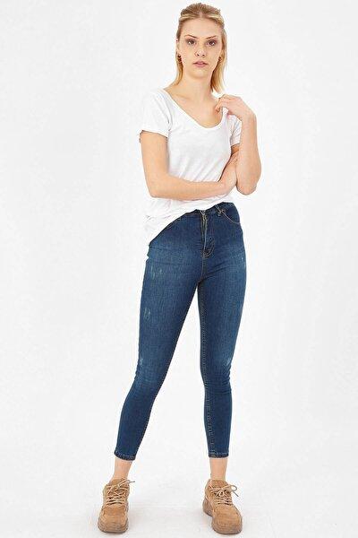 Kadın Çağla Tint Taşlanmış Lazerli Yüksek Bel Likralı Pantolon