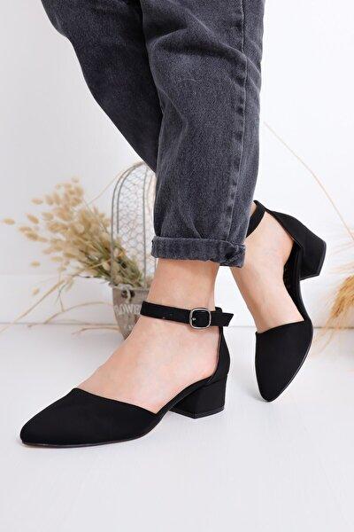Kadın Topuklu Siyah Süet Ayakkabı