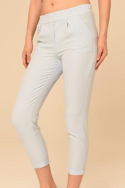 Kadın Bebe Mavi Beli Lastikli Duble Paça Pantolon