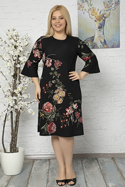 Kadın Siyah Büyük Beden Volan Kol Krep Kumaş Elbise