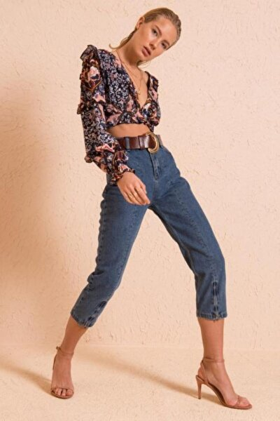 Kadın Mavi Boru Paça Fermuar Detaylı Jean Pantolon