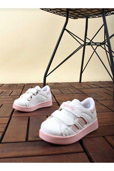 Kız Bebek Beyaz-pudra Spor Sneaker Günlük Cırtlı Spor Ayakkabı