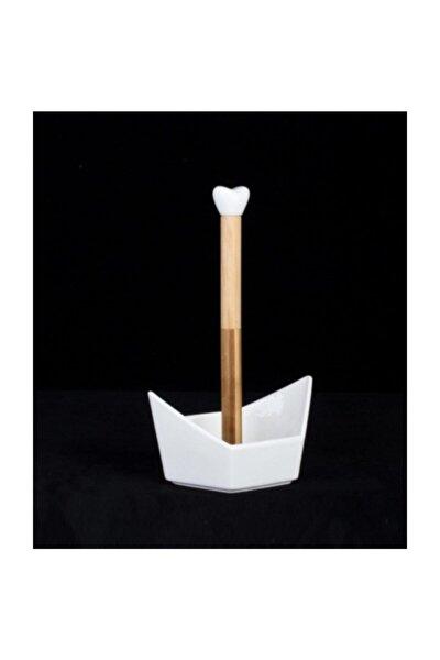Bambulu Porselen Altıgen Kalpli Kağıt Havluluk Peçetelik