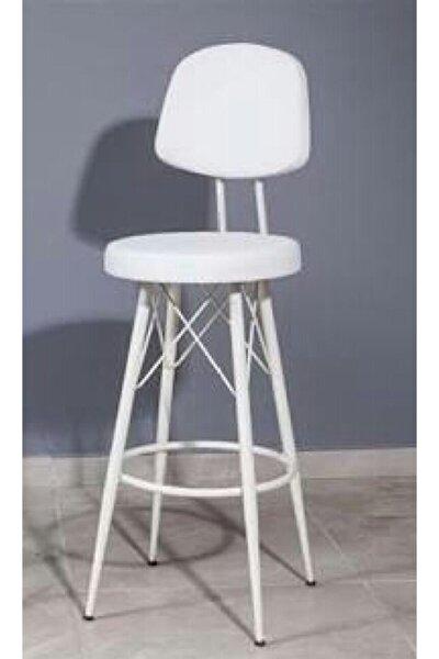 Beyaz Mutfak Bahçe Cafe Bar Salon Yemek Masa Konforlu Metal Ayaklı Sandalye 75 cm