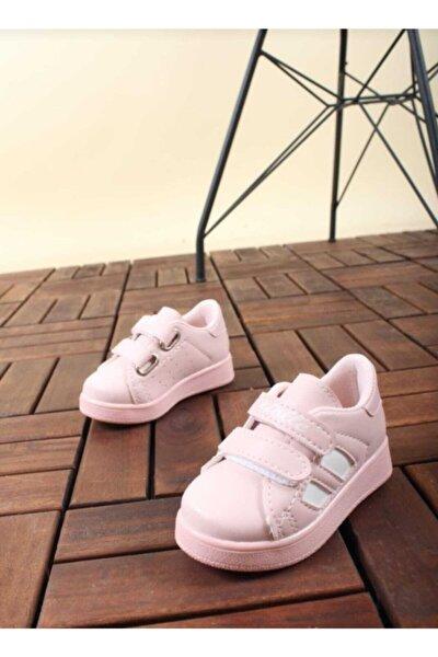 Kız Bebek Pudra Pembe Spor Sneaker Günlük Cırtlı Spor Ayakkabı