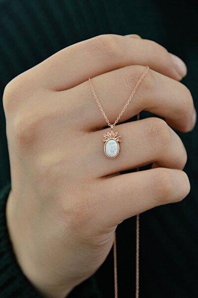 Kadın 925 Ayar Gümüş Rose Kaplama Beyaz Opal Taşlı Ananas Kolye