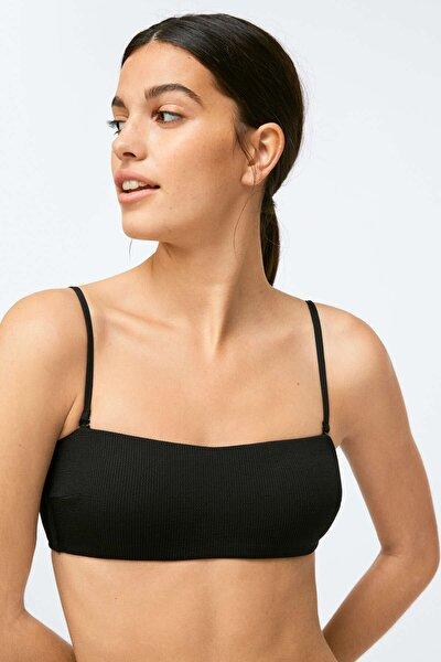 Kadın Siyah Fitilli Straplez Bikini Üstü