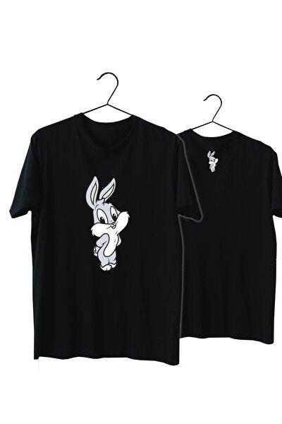 Unisex Siyah Bugs Bunny Pamuk Normal Kalıp Tshirt