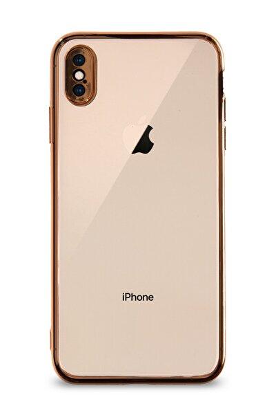Apple Iphone Xs Max Kılıf Renkli Şeffaf Kamera Korumalı Exclusive Silikon Kapak - Gold