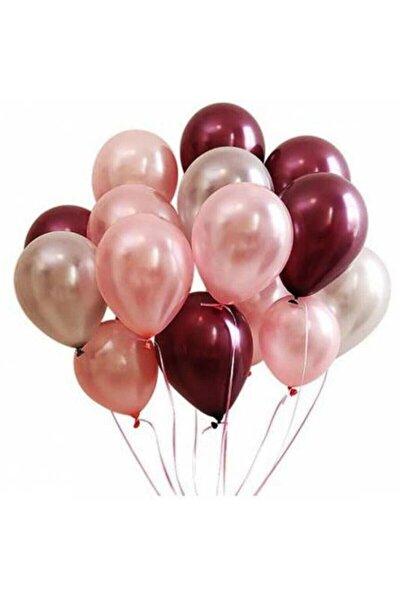 9 Adet Rose Gold-gümüş -bordo Metalik Balon 3'lü Renk - 12 Inç