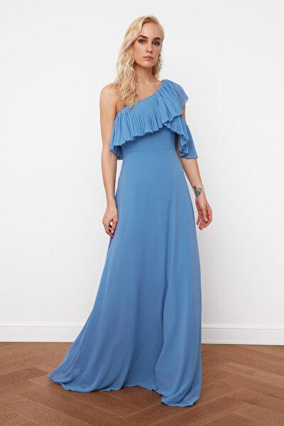 Mavi Kol Detaylı  Şifon Abiye & Mezuniyet Elbisesi TPRSS21AE0002