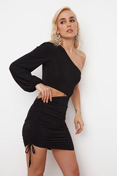 SiyahTek Kol Drapeli Elbise TPRSS21EL0179
