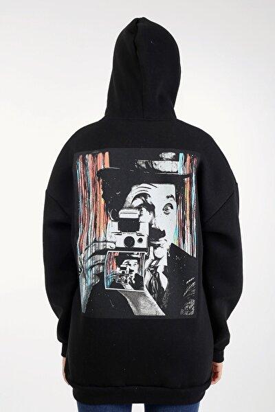 Siyah Oversize Charlie Chaplin Baskılı Kadın Sweatshirt