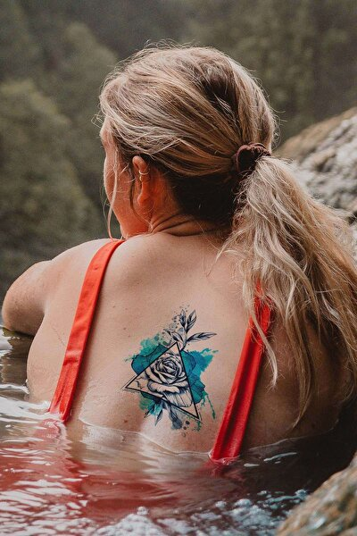 Geçici Üçgen Ve Gül Dövme Tattoo