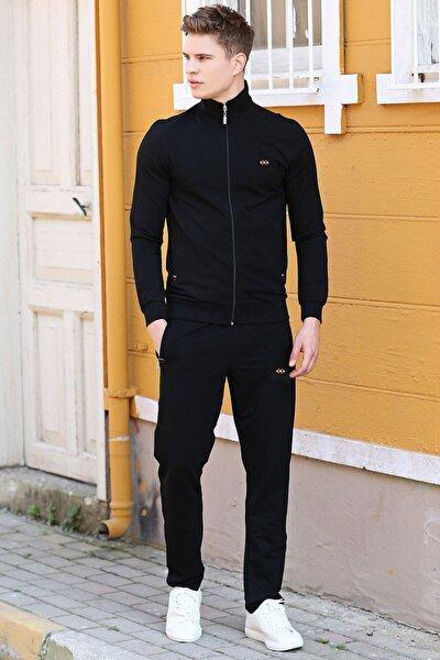 Erkek Dik Yaka Fermuarlı Slim Fit Klasik Paça Eşofman Takımı-85072
