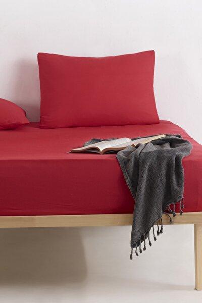 %100 Doğal Pamuk DüzRenk Lastikli Çarşaf+Yastık Seti Çift Kişilik FreshColor Kırmızı