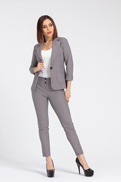Kadın Bej Desenli Kalın Kemerli Likralı Kumaş Pantolon