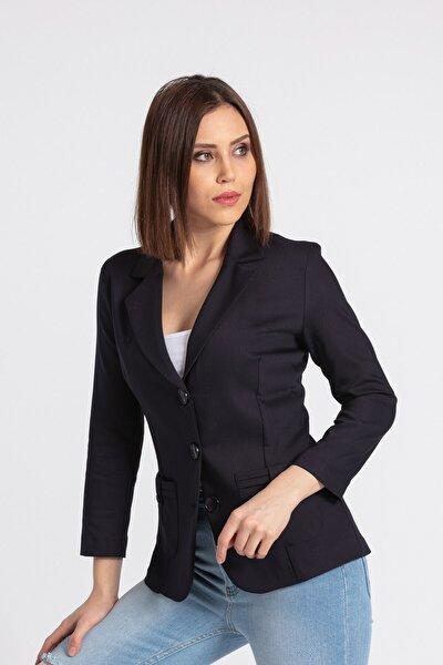 Kadın Lacivert Yakalı Cep Detaylı Blazer Şık Ofis Ceket