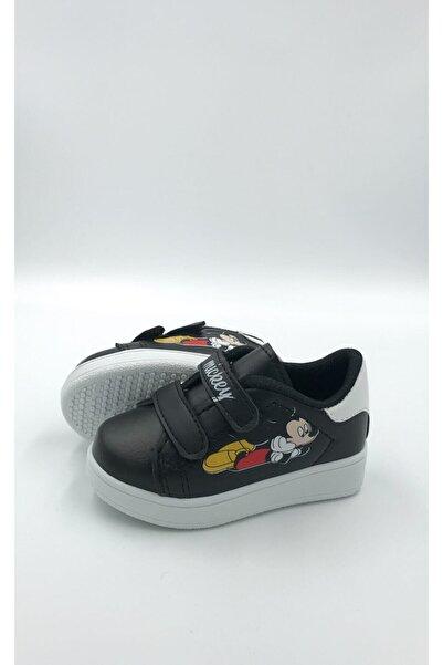 Unisex Çocuk Siyah Beyaz Cırtlı Spor Ayakkabı
