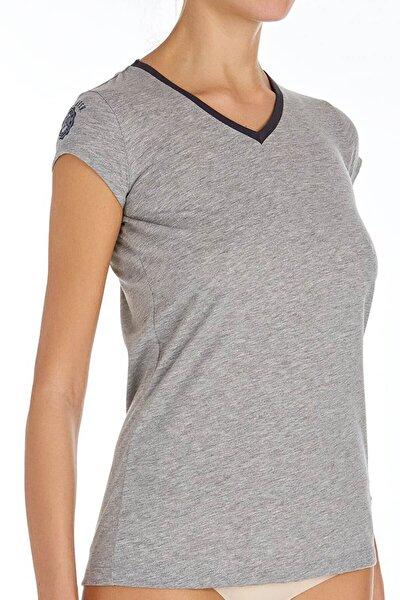 Kadın Gri Melanj V Yaka T-shirt U.s 01.66053