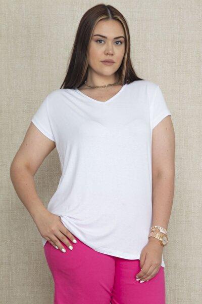 Kadın Beyaz V Yakali Oversize Basic Tişört 65N22128