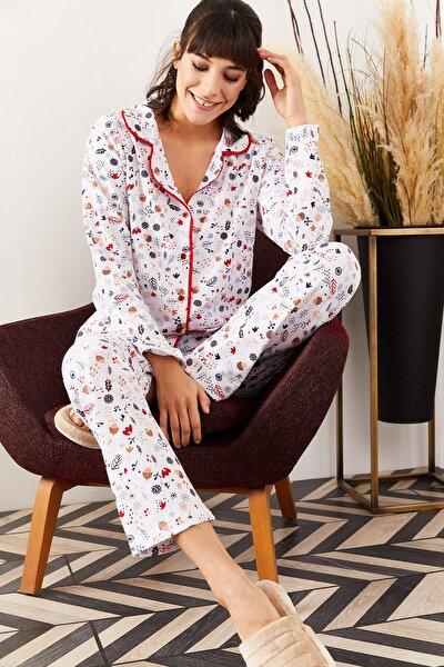 Kadın Ekru Desenli Desenli Pijama Takımı PJM-00000002