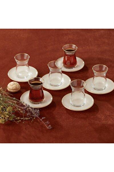 Retro Bej 6 Kişilik Çay Seti
