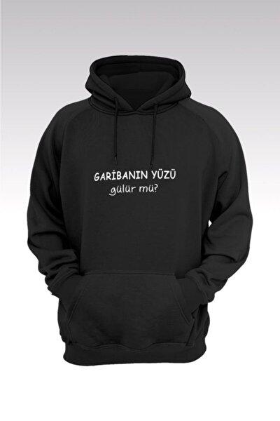 Unisex Siyah Garibanın Yüzü Gülür Mü 206 Kapüşonlu Sweatshirt - Hoodie