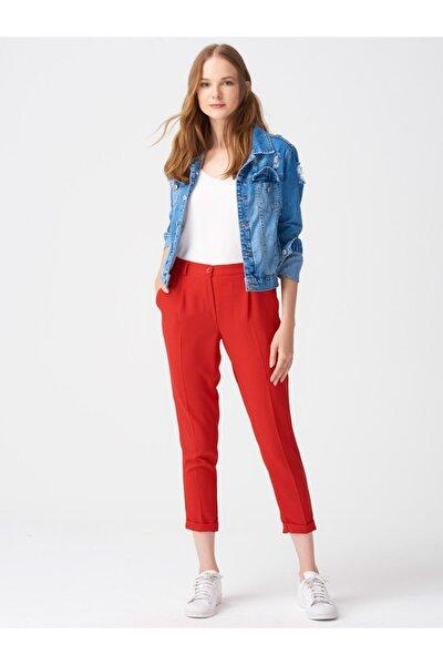 Kadın Kırmızı Beli Lastikli Kumaş Pantolon