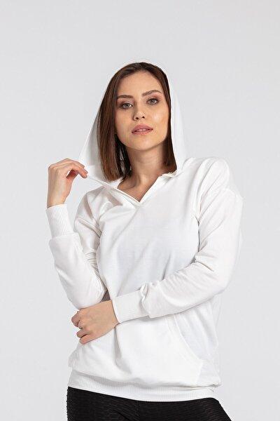 Kadın Krem Kapüşonlu Cepli Uzun Kol Basic Sweatshirt Bluz