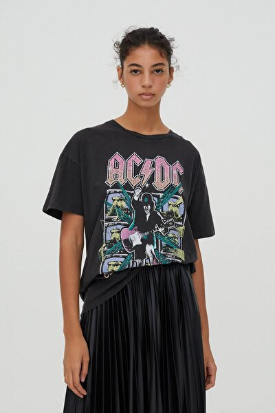 Kadın Siyah Pamuklu  T-Shirt