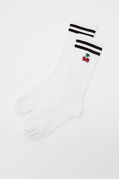 Kadın Beyaz Kiraz Işlemeli Spor Çorap 2'li