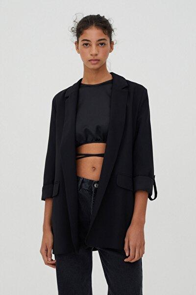Kadın Siyah Kıvrık Kollu Basic Blazer Ceket