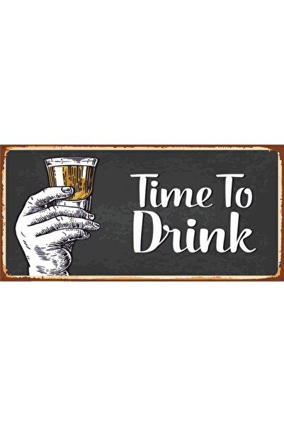 Time To Drink Içki Zamanı (10 Cm X 20 Cm) Mini Retro Ahşap Poster