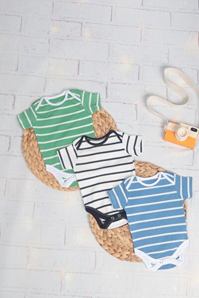 Erkek Bebek Çizgili Yarım Kol Çıtçıtlı Body 3 Lü Set