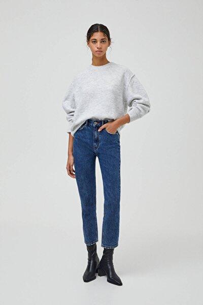 Kadın Mavi Mom Fit Basic Jean