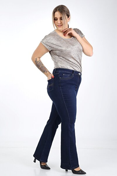 Ispanyol Paça Likralı Büyük Beden Jeans Pantolon
