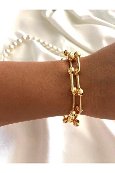 Kadın Gold Renk Zincir Çelik Bileklik