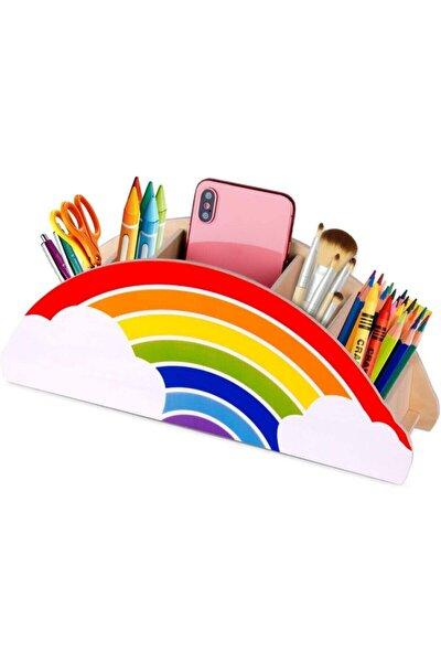 Ahşap Gökkuşağı Çocuklar İçin Masaüstü Kalemlik Kalem Kutusu Organizer
