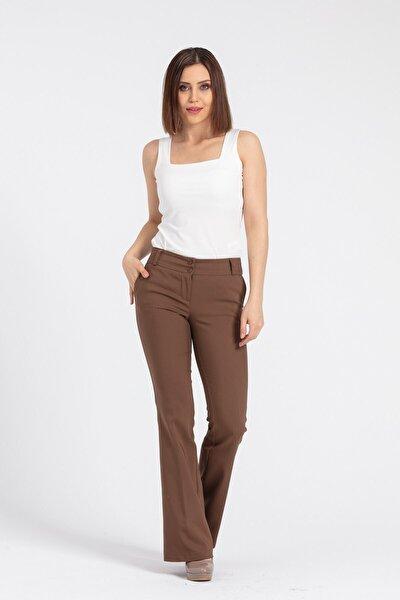 Kadın Kahverengi Kalın Kemerli Cepli İspanyol Bol Paça Likralı Kumaş Pantolon