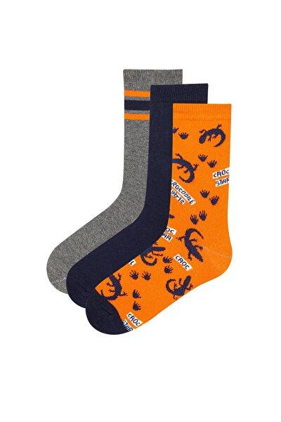 Çok Renkli Erkek Çocuk Croc Star 3lü Soket Çorap