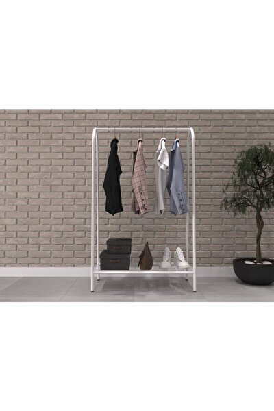 Dekoratif Metal Ayaklı Raflı Elbise Askılığı Portmanto Ve Raflı Konfeksiyon Askılığı