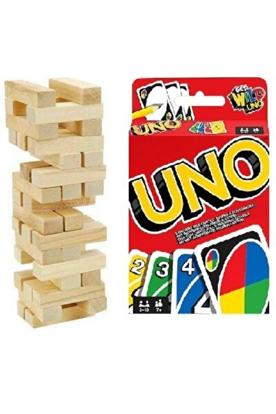 54 Parça Jenga Ahşap Denge Oyunu Ve Orjinal Uno Eğlenceli Kart Oyunu