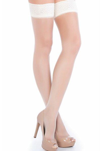 Kadın Beyaz Fantezi Jartiyer Burnu Şeffaf Dantelli Silikonlu Çorap