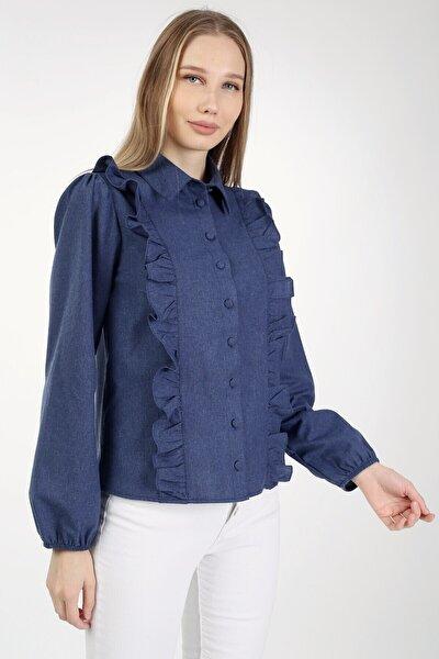 Kadın Lacivert Flanel Önü Fırfırlı Kaplama Düğmeli Gömlek