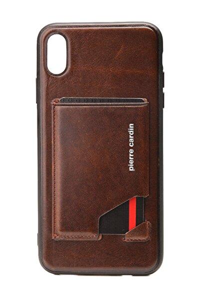 Iphone Xsmax Kahve Stand, Kart, Yan Silikon Koruma Deri Kılıf