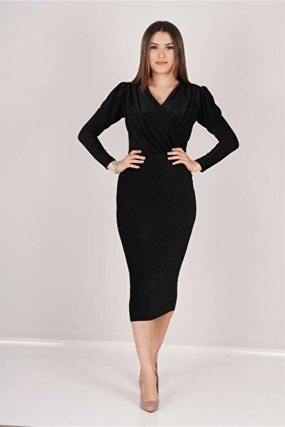 Simli Kalem Elbise - Siyah