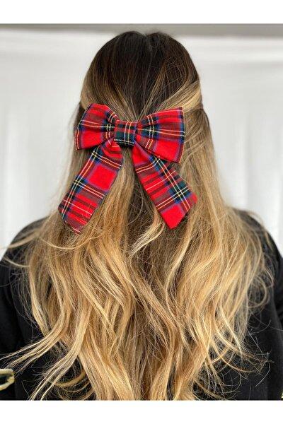 Kırmızı Ekose Desenli Saç Tokası